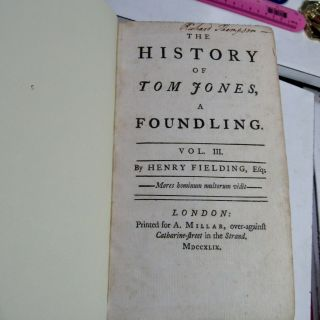 TOM JONES by HENRY FIELDING/1749/RARE TRUE 1st Edition 1st ISSUE/FINE LEATHER BN 12