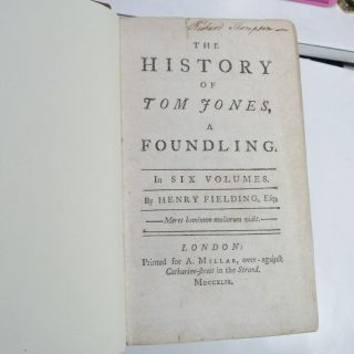 TOM JONES by HENRY FIELDING/1749/RARE TRUE 1st Edition 1st ISSUE/FINE LEATHER BN 8