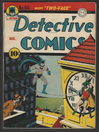 Detective Comics 66 Vf 8.  0 Moderate Pro Restoration.  1st Two - Face.  Rare Batman