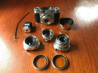 Voigtlander Prominent Vintage 35mm Film Camera With 3 Lenses,  Cond