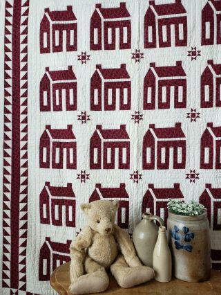"""Best Ever Antique C1900 Cranberry Red School House,  Tiny Stars Quilt 83x66 """""""