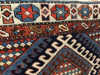Auth: 19th C Antique Caucasian Runner Dramatic Geometric Wool Beauty 4x14 Nr