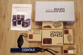 Collectible Rare As Nib Contax 645 Kit W/ Zeiss Planar T 80mm F/2 80/2