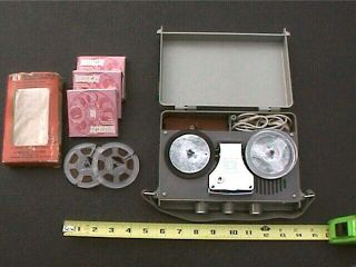 Vintage Transette Portable 3 Inch Reel To Reel Tape Recorder With Tapes