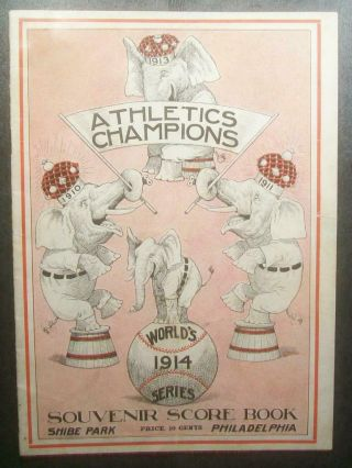 V Rare 1914 World Series Program Braves @ A's - Miracle Upset 4 - 0 1st Sweep