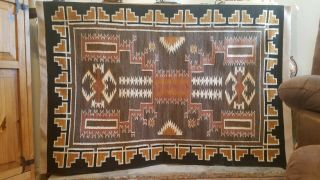 Vintage Navajo Rug/storm Natural Colors Large 74 In X 48 In.  Hand Spun.