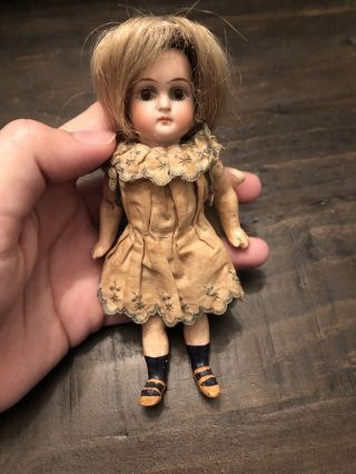 "Antique 5.  5"" Early Closed Mouth Kestner Doll Mold 192 W Antique Clothes"