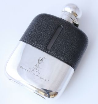Antique Silver Plated Leather Spirit Hip Flask.  Cockerel.  While We Live We Crow.