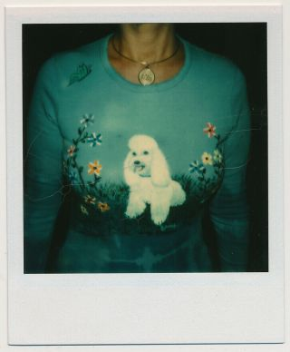 Faceless Woman In Poodle Sweater Vtg 70