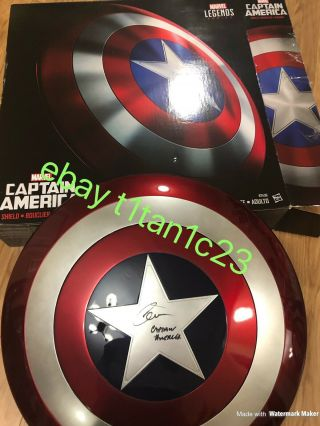 Chris Evan Signed Captain America Marvel Legends Shield Jsa Auto Rare