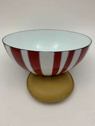 Vintage Cathrineholm Red And White Striped Enamelware Bowl 7 ""