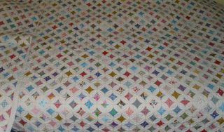 """Vintage Cathedral Window Quilt 92 """" X 109 1/2 """",  W/appraisal Report"""