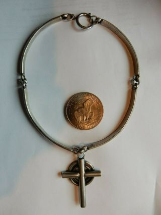 Cabin Craft Shop Ephraim Wi.  1930s - 40s Handwrought Sterling Silver Celtic Cross