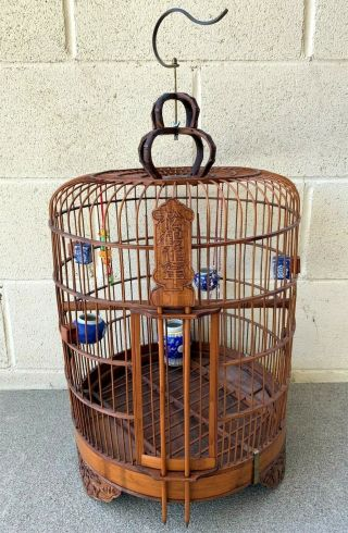 Large Chinese Vintage Bamboo Bird Cage With 5 Feeders And Jade/stone