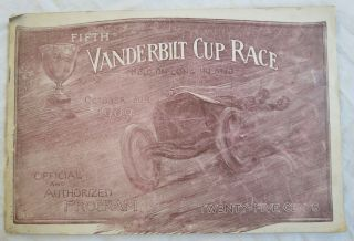 Fifth Vanderbilt Cup Road Race Program 1909 Long Island Ny Old Vtg Antique