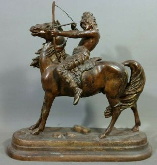 Antique Indian Horse Bow & Arrow Wild Bill Hickock Old West Show Souvenir Statue