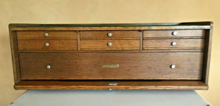 VINTAGE H.  GERSTNER & SONS 0B62 OAK 7 DRAWER BASE CHEST NICKEL LOCK 2 KEYS,  USA 12
