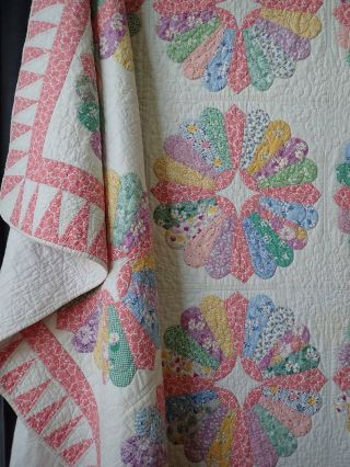 Gorgeous The Best Prints Ever Found Vintage 30s Pink Dresden Plate Quilt