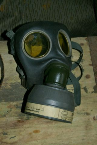 German Ww2 Draeger Gas Mask With Canister,  Danish Reuse