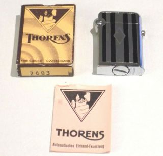 Vintage Thorens Pocket Lighter Nib W/ Instructions Made In Switzerland
