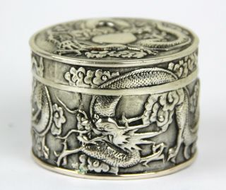 Very Fine Chinese Export Silver Box - W.  A Mark - Canton 1845 - 1900