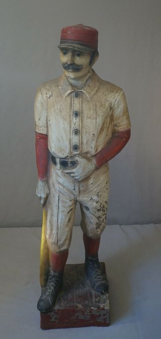 "Fine Vintage Old Time Baseball Player 41 "" Tall Statue - Great Detail And Design"