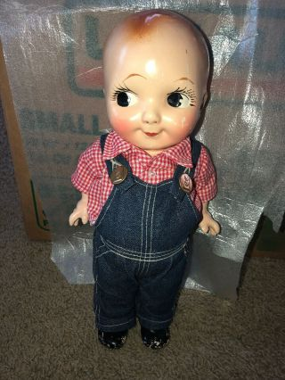 Vintage Buddy Lee Composition Doll In Lee Overalls And Shirt Unmarked