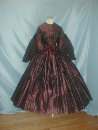 Antique Dress 1860 Copper And Black Stripe Changeable Silk Victorian