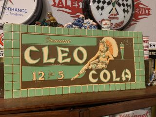 Vintage Nos Metal Scarce Cleo Cola 5 Cent Sign Cleopatra Non Porcelain