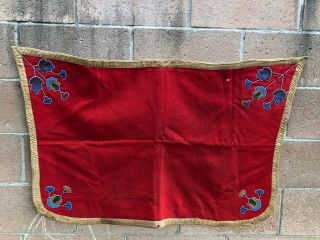 Antique Native American Plateau Or Northern Plains Beaded Saddle Blanket