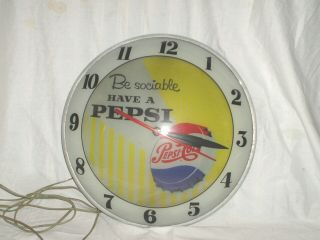 Pepsi Double Bubble Glow Clock Vintage Advertising 1950 - No Reserved