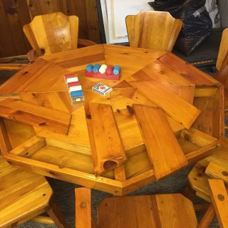 Vintage Knotty Pine Poker Table & 8 Matching Chairs,  Habitant Shops Bay City,  Mi
