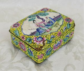 Antique 19th Century Chinese Canton Enamel On Copper Trinket Box Woman And Child