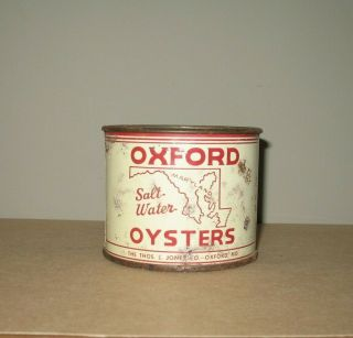 Vintage 12 Oz Oxford Oysters Tin Can