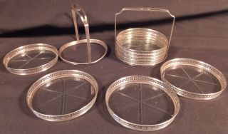 Set Of 8 Webster Sterling Coasters W Cut Glass Bottoms & 2 Caddies