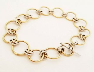 Vintage Artisan 14k And Sterling Silver Chain Link Bracelet With Toggle Clasp