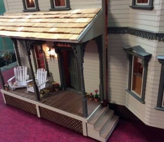 Miniature Arts & Craft Style Doll House Lighted - Vintage Furnishings - Opens Up