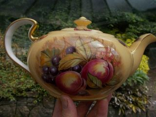 Large Rare Aynsley Orchard Gold Teapot A/f