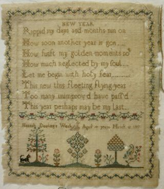 Late 18th Century Year Verse & Garden Sampler By Hannah Dowling Age 10 1797
