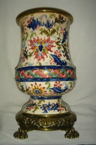 Antique Fischer Budapest Reticulated Colourful Oil Lamp Base Zsolnay Int