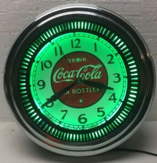 Vintage Coca Cola Neon Spinner Clock / Gas Oil / Soda / Sign / Service Station