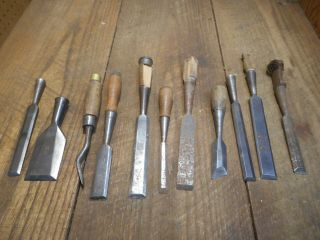 L4379 Vintage & Antique Wood Chisels - Some Need Tlc - 2 Stanley,  Etc