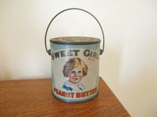 """Vintage 4 """" Sweet Girl Peanut Butter Tin With Bale (canco Leaktite) A,  Lithograph"""