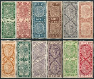 British India 1869,  Qv Victoria,  Um/nh Telegraph Forgery Rare Set Of 12.  A545