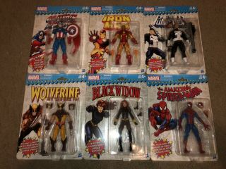 Marvel Legends Vintage Wave 1 Set Of 6 Iron Man Brown Wolverine Pizza Spider - Man