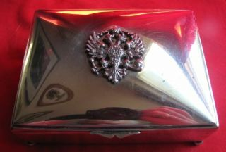 Antique Silver Plated Cigarette Box with Tsarist Coat - Of - Arms - Wood Lined 2