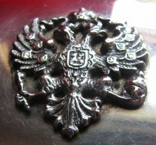 Antique Silver Plated Cigarette Box with Tsarist Coat - Of - Arms - Wood Lined 5