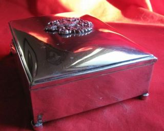 Antique Silver Plated Cigarette Box with Tsarist Coat - Of - Arms - Wood Lined 8
