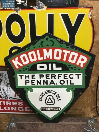Vintage Cities Service Koolmotor Oil Double Sided Porcelain Metal Gas Oil Sign
