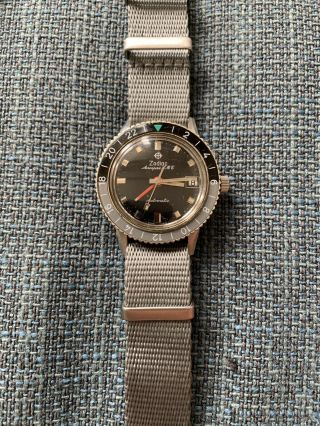 Vintage Zodiac Aerospace Gmt Automatic Mens Watch 1968 Bakelite Bezel